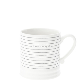 Mug White/Stripes & love today in Black