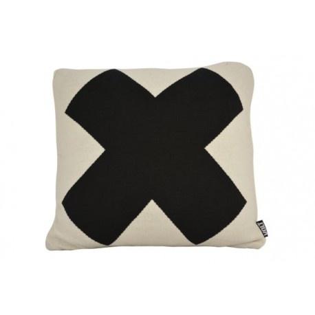 Wit kussen met zwart X