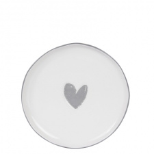 Cake plate white with grey heart