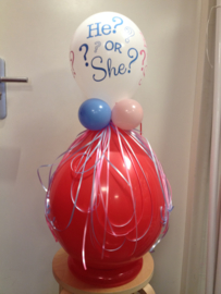 Gender reveal ballon met he? or she? ballon, incl. confetti