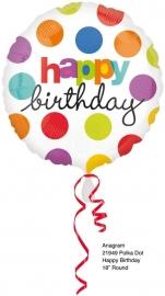 Folieballon happy birthday polka dot