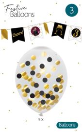 FN Confetti ballonnen zwart/goud / 5st.