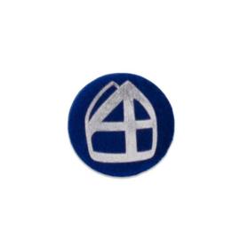 Button met mijter donkerblauw