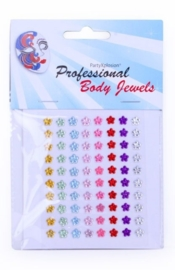Body jewels 80 bloemetjes 6 mm ass kleuren