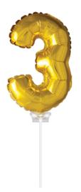 Folieballon 40cm goud 3 (met stokje)