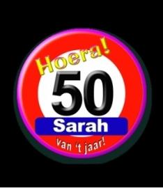 Button Sarah verkeersbord