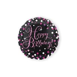 Folieballon Happy Birthday sparkling celeb. pink