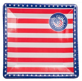 Borden vierkant USA Party 25cm /8st.