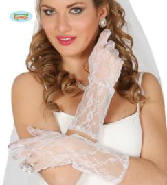 Handschoenen kant wit 36cm