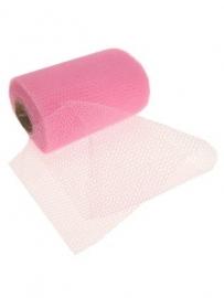 Decoratie gaas op rol roze 15cm/32mtr