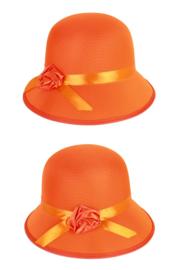Dameshoed bol met roosje oranje