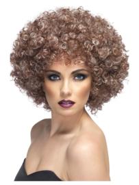 Pruik Afro blond & bruin