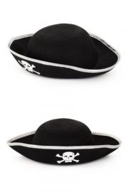 Piratenhoed zwart/wit voor kinderen