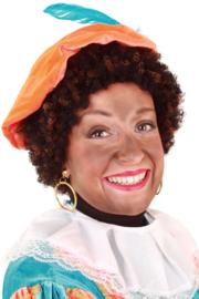 Pruik Piet kroes zwart/bruin verstelbaar