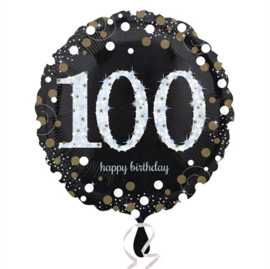 Folieballon 100 Birthday sparkling celeb. silver