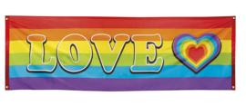 Banner regenboog love 74x220cm