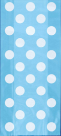 Uitdeelzakjes licht blauw met witte stippen 20st.