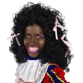 Pruik Piet dame wetlook met roze strikjes