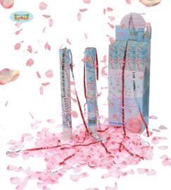 Party popper rozenblaadjes roze 50cm