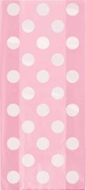 Uitdeelzakjes roze met witte stippen 20st.