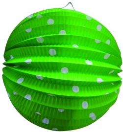Lampion rond groen+witte stippen 23cm