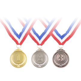 Medailles: goud, zilver, brons