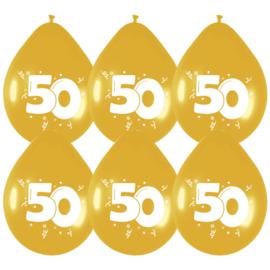Ballonnen 8st. cijfer 50 goud metallic