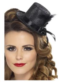 Hoge hoed mini, zwart
