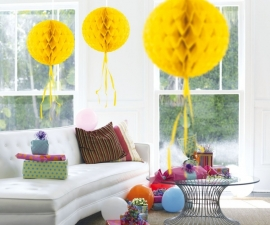 Honeycomb bal geel 30cm