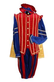 Piet fluweel luxe + cape Marbella mt.L rood/blauw