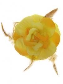Bloem+glitters speld en elastiek geel