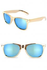 Bril Blues Brother goud met spiegelglas