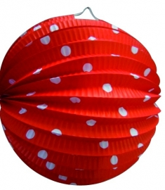 Lampion rond rood+witte stippen 23cm