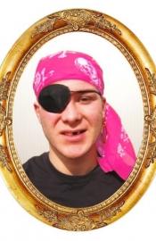 Piraten hoofddoek roze met doodskoppen