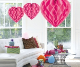 Honeycomb hart roze 30cm