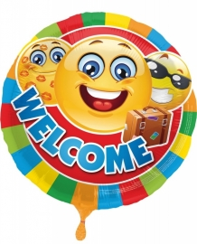 Folieballon Emoticon Welcome Verpakt