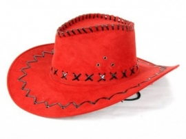 Cowboyhoed lederlook rood