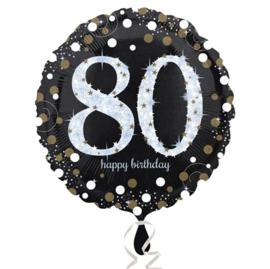 Folieballon 80 Birthday sparkling celeb. silver
