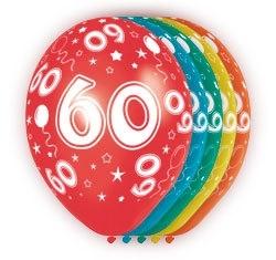 Ballonnen 5st. 60 jaar HE 30cm