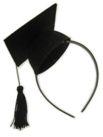 Afstudeer-hoedje mini op haarbeugel