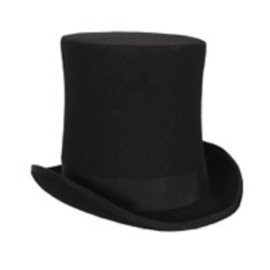 Hoge hoed 21cm zwart extra hoog, wolvilt mt. 59