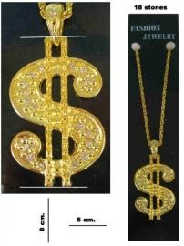 Collier dollarteken groot goud