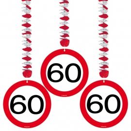 Hangdecoratie Verkeersbord 60/3stk