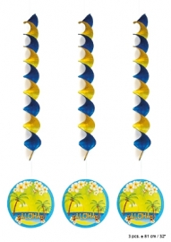 Decoratie spiralen Aloha per 3st.