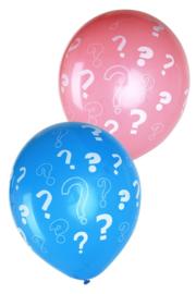 Ballon met vraagtekens blauw/roze 12inch 8st.