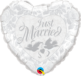 Folieballon Just Married wit/zilver duiven