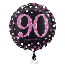 Folieballon 90 Birthday sparkling celeb. pink