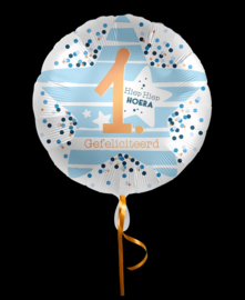 Folieballon 1 Hiep hiep hoera blauw