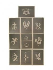 PXP glittersjabloon 10 stuks serie B 6,5x9,5 cm