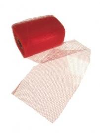 Decoratie gaas op rood wit 15cm/32mtr